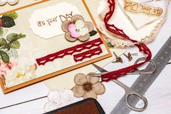Scrapbook -  Card and tools. Scrapbook background. Card and tools with decoration Stock Photography