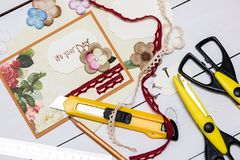 Scrapbook -  Card and tools. Scrapbook background. Card and tools with decoration Royalty Free Stock Photo