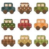 Scrapbook cars on white background Royalty Free Stock Photo