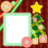 Scrapbook Christmas card. Scrapbook template for New Year or Christmas with fir tree and frame Royalty Free Stock Photo
