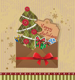 Scrapbook Christmas greeting card. Royalty Free Stock Photos
