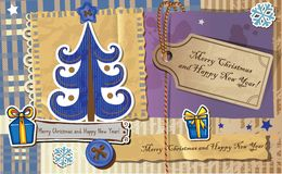 Scrapbook Christmas greeting card. Stock Photography