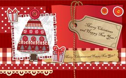 Scrapbook Christmas greeting card. Royalty Free Stock Image
