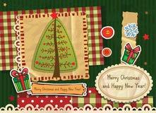 Scrapbook Christmas greeting card. Royalty Free Stock Photos