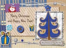 Scrapbook Christmas greeting card. Stock Photography