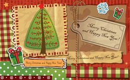 Scrapbook Christmas greeting card. Royalty Free Stock Images