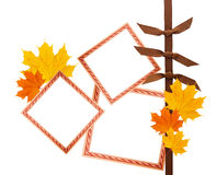 Scrapbook composition with design elements and photo frames plus autumn leaves Stock Photo