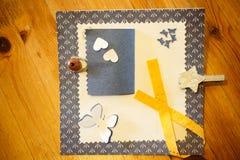 Scrapbook craft in detail over wood texture Stock Image