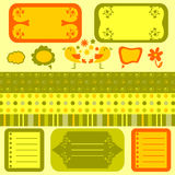 Scrapbook cute elements seamless patterns Royalty Free Stock Images