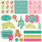 Scrapbook Design Elements - Baby Arrival Set Stock Images