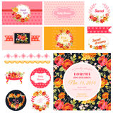 Scrapbook Design Elements for Baby Shower Stock Photography