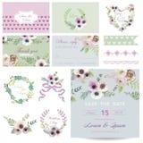 Scrapbook Design Elements for Baby Shower. Scrapbook Design Elements - Baby Shower Flower Theme - in vector Stock Image