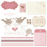 Scrapbook design elements - Birds in love Stock Photography