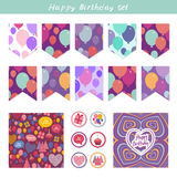 Scrapbook Design Elements. Birthday, baby shower, party design. Seamless pattern with balloons and happy birthday card. Purple pin Royalty Free Stock Images