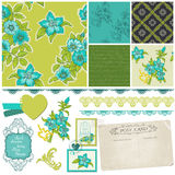 Scrapbook Design Elements - Blue Flowers Stock Photos