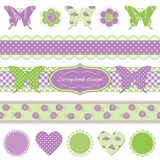 Scrapbook design elements. Butterflies and lace. Scrapbook design elements. Textile butterflies with buttons and lace Royalty Free Stock Photography