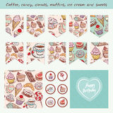 Scrapbook Design Elements Hand drawn confectionery set. Croissant Cupcake candy marshmallow ice cream cake donut and coffee. Birthday, baby shower, party Royalty Free Stock Photo