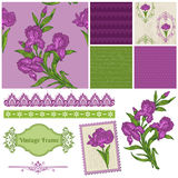 Scrapbook Design Elements - Iris Flowers Royalty Free Stock Photography