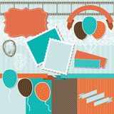 Scrapbook design elements - pattern, balloons and Royalty Free Stock Images