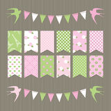 Scrapbook design elements set of bunting flags. Stock Image