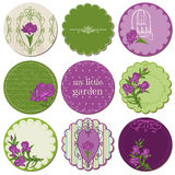 Scrapbook Design Elements - Tags with Iris Flowers Royalty Free Stock Image