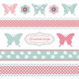Scrapbook design elements. Butterflies and lace. Scrapbook design elements. Textile butterflies with buttons and lace Stock Photos