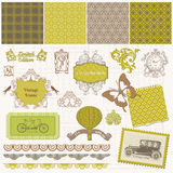 Scrapbook Design Elements - Vintage Time Set Stock Photo