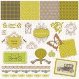 Scrapbook Design Elements - Vintage Time Set Stock Photo