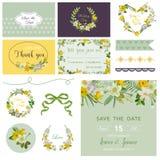 Scrapbook Design Elements - Wedding Spring Flower Theme Royalty Free Stock Image