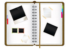 Scrapbook diary. With empty photo frames and notes,  illustration Royalty Free Stock Image