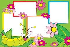 Scrapbook do miúdo - Grub e flores Imagens de Stock Royalty Free