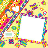 Scrapbook with doodle elements and place for your picture Stock Photo