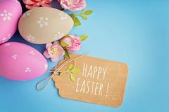 Scrapbook easter greeting card. Scrapbook greeting card with colorful easter eggs and spring flowers Stock Image