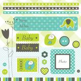 Scrapbook elements. Design elements for baby boy arrival card Stock Image