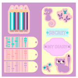Scrapbook elements. A set of decorative scrapbook elements vector illustration