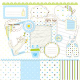 Scrapbook elements for baby boy Royalty Free Stock Photos