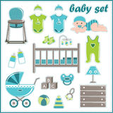 Scrapbook elements with baby boy things Royalty Free Stock Photos