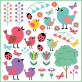 Scrapbook elements with birds and insects Royalty Free Stock Images
