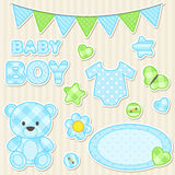 Scrapbook elements for boy Royalty Free Stock Photos