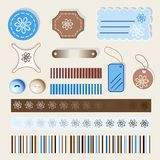 Scrapbook elements, brown and blue Royalty Free Stock Photos