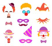 Scrapbook elements. Circus or party costumes and clown glasses and hairs stock illustration