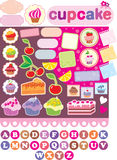 Scrapbook elements with cupcakes. Vector illustration, color full, no gradient Royalty Free Stock Images