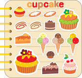 Scrapbook elements with cupcakes. Vector illustration, color full, no gradient Stock Photo