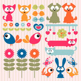 Scrapbook elements cute animals Royalty Free Stock Images