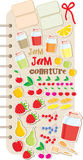 Scrapbook elements with fruit and jam. Royalty Free Stock Photos