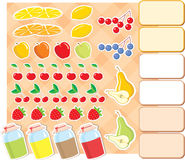Scrapbook elements with fruits and jam. Royalty Free Stock Images