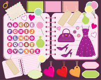 Scrapbook elements with letters and clothes. Royalty Free Stock Image