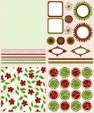 Scrapbook elements and patterns for design,  Royalty Free Stock Photos