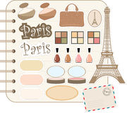 Scrapbook elements with Tour d'Eiffel Stock Image