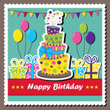 Vector birthday card. Vector illustration of birthday card with topsy-turvey cake Royalty Free Stock Images
